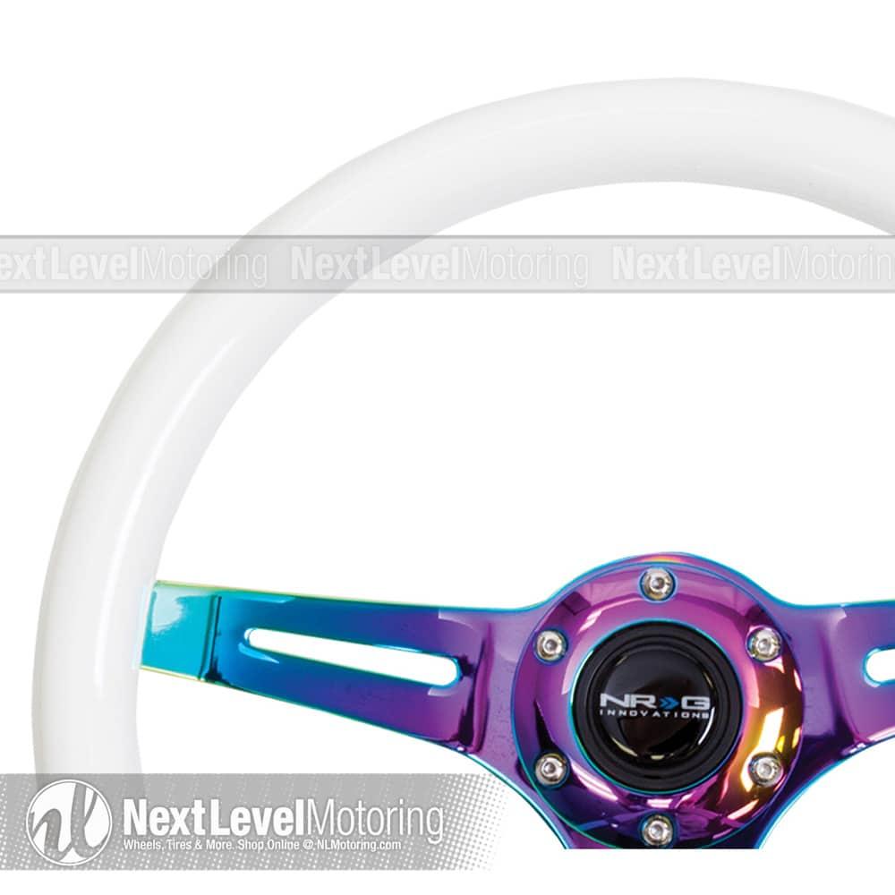 NEW NRG STEERING WHEEL 350mm Glow in the Dark Classic White Wood ST-015MC-GL