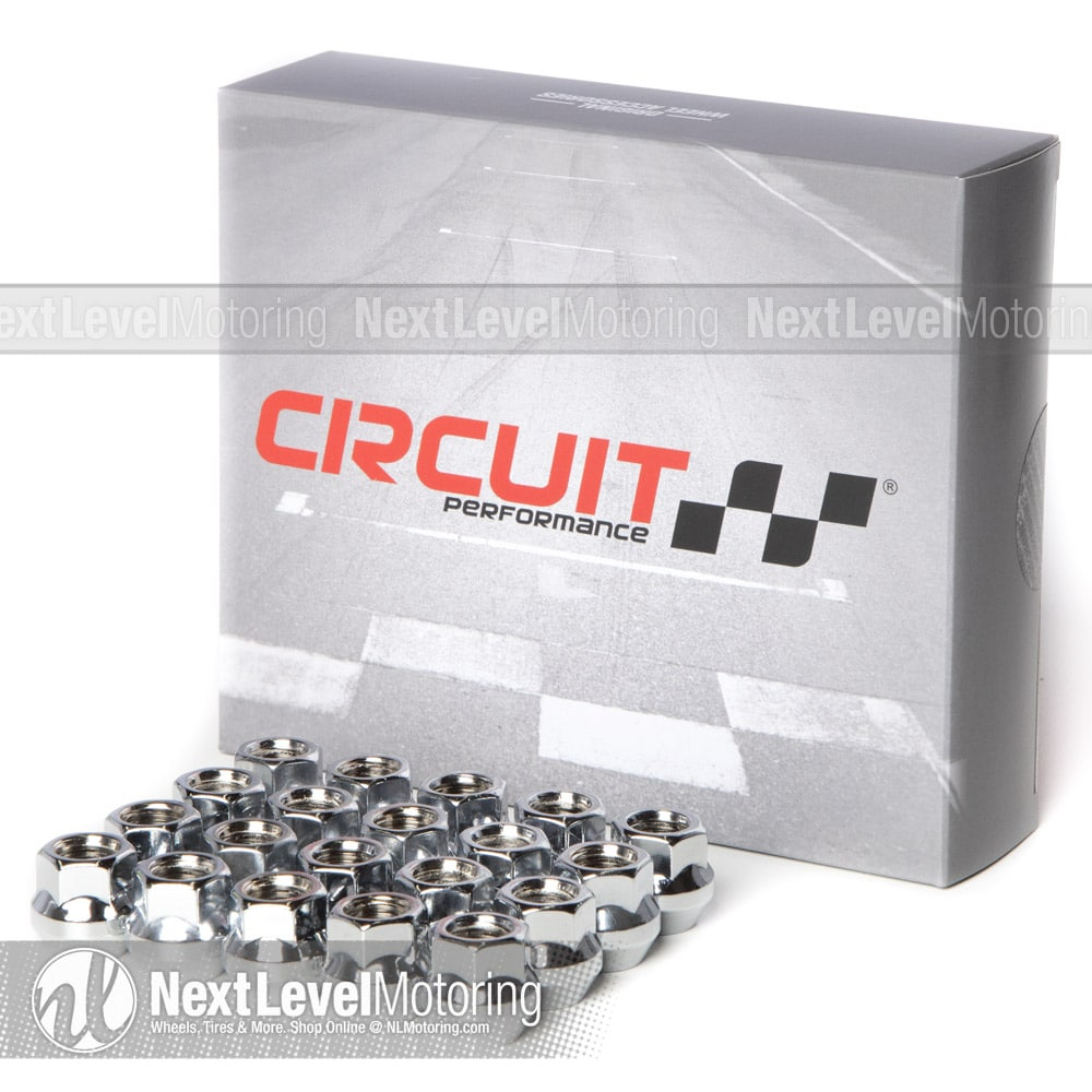 20 pieces Circuit Performance 7//16 Chrome Closed End Bulge Acorn Lug Nuts Cone Seat Forged Steel